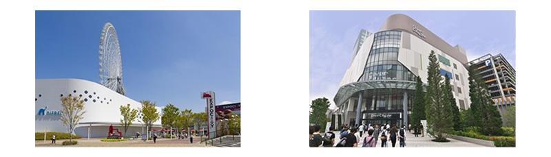 左:三井ショッピングパーク ららぽーとEXPOCITY / 右:ダイバーシティ東京 プラザ